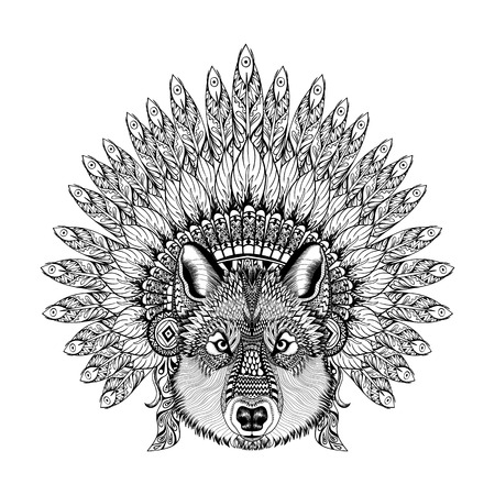 Hand Drawn Zentangle Wolf in Feathered War bonnet, high datailed headdress for Indian Chief. American boho spirit. Vintage sketch, vector illustration for tattoos, t-shirt print.