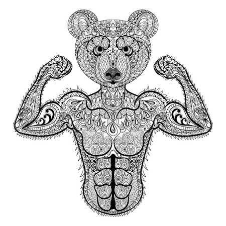 Zentangle stylized strong Bear. Hand Drawn sport vector illustration isolated on white background. Vintage sketch for tattoo design or makhenda. Animal art collection. Illustration