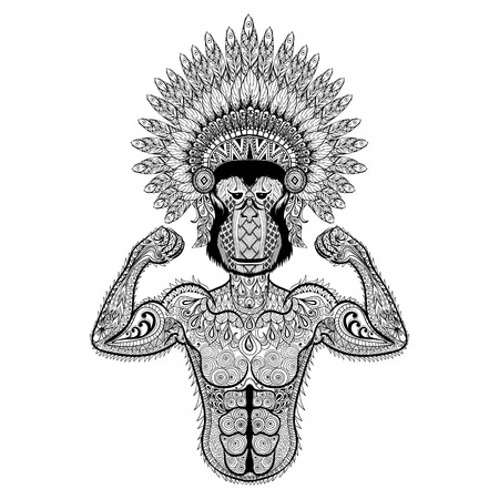 print design: Zentangle stylized strong Monkey like Bodybuilder with war bonnet. Hand Drawn sport vector illustration isolated on white background. Vintage sketch for tattoo design or makhenda. Animal art collection. Illustration