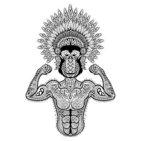 wojenne: Zentangle stylizowane silny Monkey jak Kulturysta War Bonnet. Ręcznie rysowane ilustracji wektorowych sportu samodzielnie na białym tle. Archiwalne szkic do projektowania tatuażu lub makhenda. Kolekcja sztuki zwierząt.