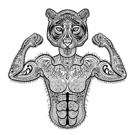Zentangle stylized strong Tiger. Hand Drawn sport vector illustration isolated on white background. Vintage sketch for tattoo design or makhenda. Animal art collection.