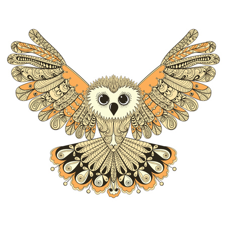 Zentangle gestileerde Brown vliegende uil. Hand getrokken vector illustratie op een witte achtergrond. Vintage schets voor tattoo ontwerp of makhenda. Vogel collectie.