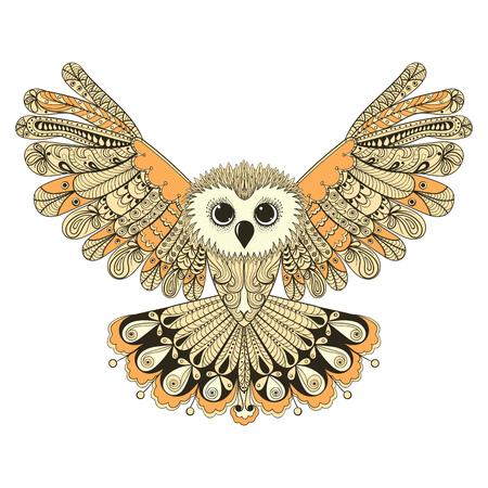 Zentangle marrón estilizada del vuelo del búho. Mano vector dibujado aislado en el fondo blanco. época boceto para el diseño de tatuaje o makhenda. colección de aves.