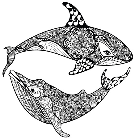 tattoo: Zentangle stylized Sea Shark and Whale. Hand Drawn vector illustration isolated on white background. Sketch for tattoo design or makhenda. Sea art collection.