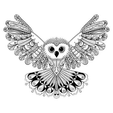 golondrinas: Zentangle estilizado Negro búho. Mano vector dibujado aislado en el fondo blanco. época boceto para el diseño de tatuaje o makhenda. colección de aves.