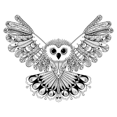 Zentangle stylized Black Owl. Hand Drawn vector illustration isolated on white background. Vintage sketch for tattoo design or makhenda. Bird collection.
