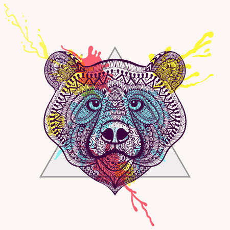 Zentangle stylized violet Bear face in triangle frame with watercolor ink drop. Hand Drawn doodle vector illustration. Sketch for tattoo or makhenda. Animal collection.