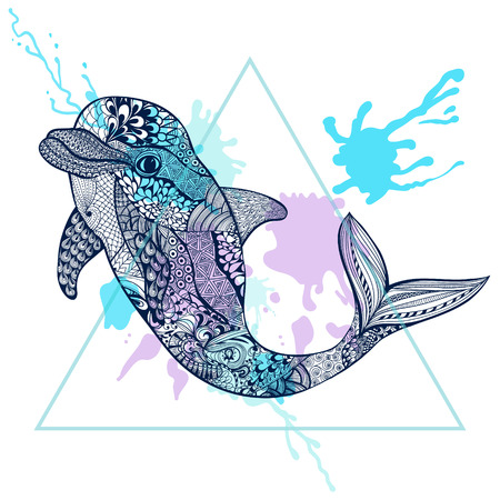 dolphin: Zentangle stylized Blue Dolphin in triangle frame with watercolor ink drop. Hand Drawn doodle vector illustration. Sketch for tattoo or makhenda. Sea animal collection. Illustration