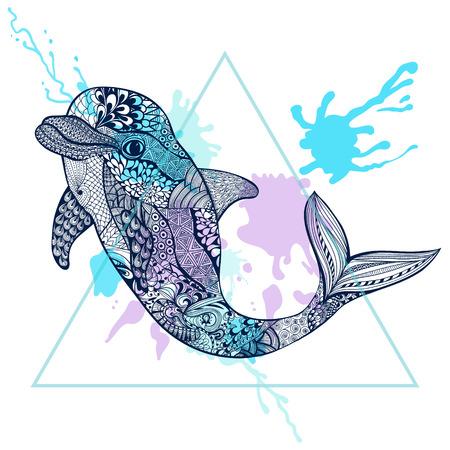 delfin: Zentangle stylizowane Blue Dolphin w trójkącie ramki z kropli atramentu akwarela. Ręcznie rysowane ilustracji wektorowych doodle. Szkic do tatuażu lub makhenda. Sea kolekcja zwierząt.