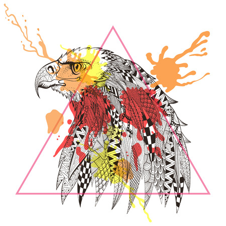 wingspan: Zentangle stylized Eagle in triangle frame with watercolor ink drop. Hand Drawn doodle vector illustration. Sketch for tattoo or makhenda. Bird collection.