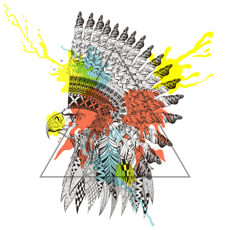 Zentangle stylized  head of eagle in feathered war bonnet in triangle frame with watercolor ink drop. Hand Drawn doodle vector illustration. Sketch for tattoo or makhenda. Animal collection.