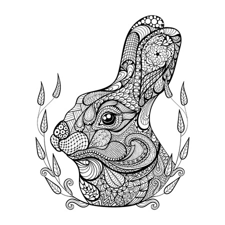 engraving print: Zentangle stylized head of rabbit in wreath.  Hand Drawn doodle vector illustration. Sketch for tattoo or makhenda. Animal collection.