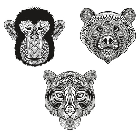 wolf face: Zentangle stylized Tiger, Monkey, Bear faces. Hand Drawn doodle vector illustration isolated on white background. Sketch for tattoo design or indian makhenda. Illustration