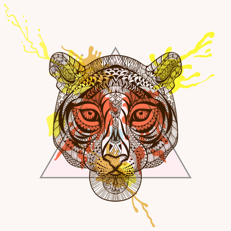 Zentangle stylized Tiger face in triangle frame with watercolor ink drop. Hand Drawn doodle vector illustration. Sketch for tattoo or makhenda. Animal collection.