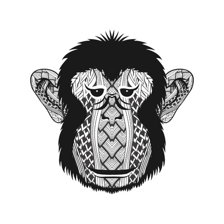 Zentangle stylized head Monkey face. Hand Drawn doodle vector illustration isolated on white background. Sketch for tattoo or indian makhenda design. Ilustrace