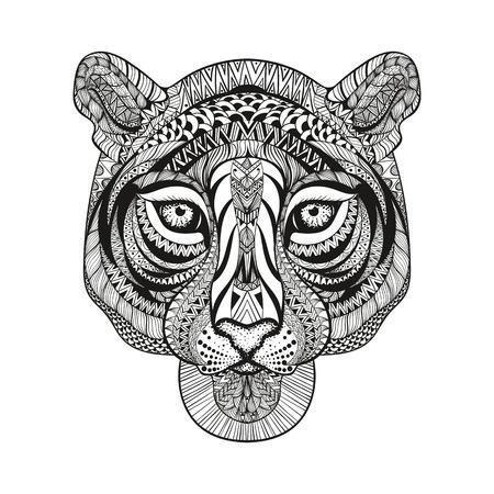 selva: Zentangle estilizado cara del tigre. Mano doodle ilustración vectorial aislado sobre fondo blanco. Boceto de diseño de tatuaje o makhenda indio.