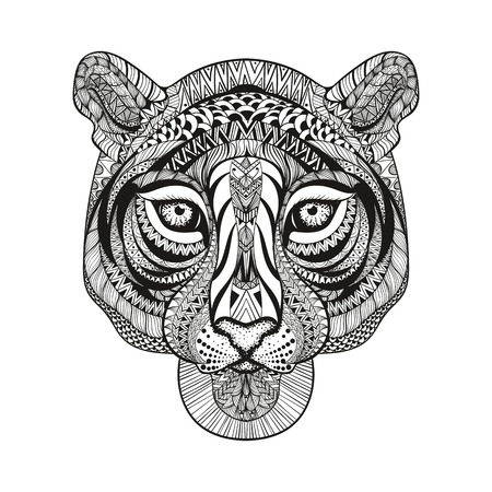 forest jungle: Zentangle stylized Tiger face. Hand Drawn doodle vector illustration isolated on white background. Sketch for tattoo or indian makhenda design. Illustration