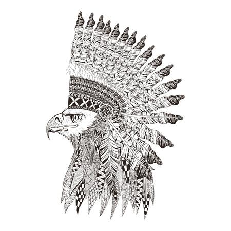 dibujo: zentangle cabeza estilizada de águila en Bannet guerra de plumas. Mano doodle ilustración vectorial aislado sobre fondo blanco. Boceto de diseño de tatuaje o makhenda indio.