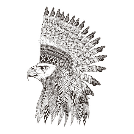 predator: Zentangle stylized head of eagle in feathered war bannet. Hand Drawn doodle vector illustration isolated on white background. Sketch for tattoo or indian makhenda design.