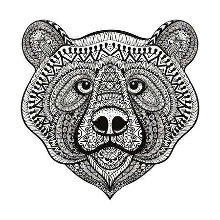 Zentangle estilizado cara del oso. Mano doodle ilustración vectorial aislado sobre fondo blanco. Boceto de diseño de tatuaje o makhenda indio.