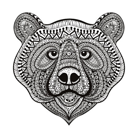 predators: Zentangle stylized Bear face. Hand Drawn doodle vector illustration isolated on white background. Sketch for tattoo or indian makhenda design.