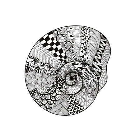 Zentangle stylized black seashell. Hand Drawn vector illustration isolated on white backgrounds. Sketch for tattoo or makhenda. Seashell collection. Ocean life.