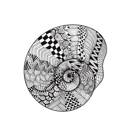 Zentangle には、黒い貝殻が様式化されました。手描きの背景イラスト白い背景で隔離。入れ墨または makhenda のためのスケッチします。貝殻のコレクシ  イラスト・ベクター素材