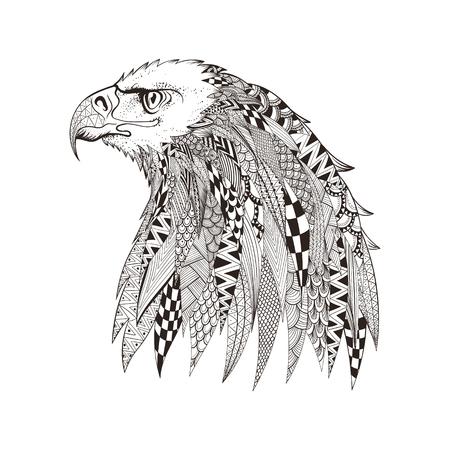 halcones: zentangle cabeza estilizada de águila. Mano doodle ilustración vectorial aislado sobre fondo blanco. Boceto de diseño de tatuaje o makhenda indio. Puede ser utilizado para la postal, camiseta, bolso o un cartel. Vectores