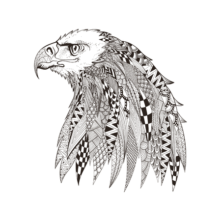 testa: zentangle cabeza estilizada de �guila. Mano doodle ilustraci�n vectorial aislado sobre fondo blanco. Boceto de dise�o de tatuaje o makhenda indio. Puede ser utilizado para la postal, camiseta, bolso o un cartel. Vectores