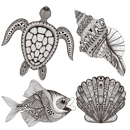 boceto: Zentangle estilizadas conchas de mar negro, peces y tortugas. Ilustración del vector del Doodle dibujado a mano. Boceto para el tatuaje o makhenda. Colección del sello. estableció la vida oceánica.