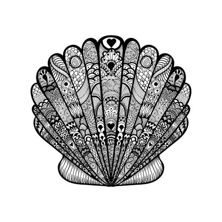 Zentangle 검은 바다 조개를 양식에 일치시키는. 손으로 그린 낙서 벡터 일러스트 레이 션. 문신 또는 makhenda에 대한 스케치합니다. 조개 컬렉션입니