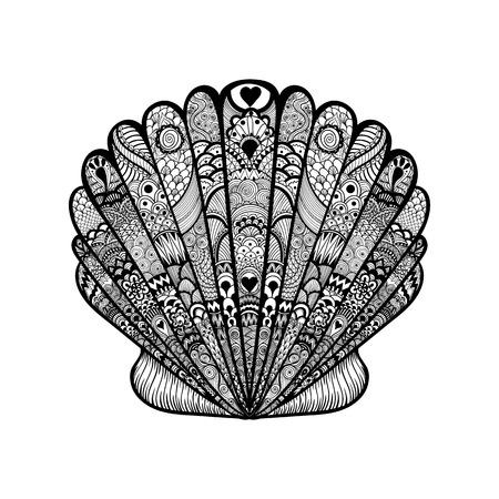 Zentangle gestileerde zwarte zee schelp. Hand getrokken doodle vector illustratie. Schets voor tatoeage of makhenda. Seashell collectie. Ocean life.