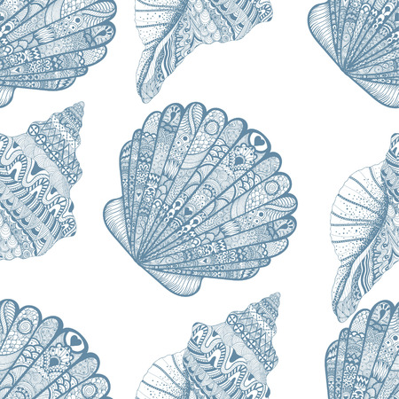 Zentangle stylized ocean shells seamless pattern. Hand Drawn  doodle vector illustration. Sketch for tattoo or makhenda. Seashell collection. Illustration