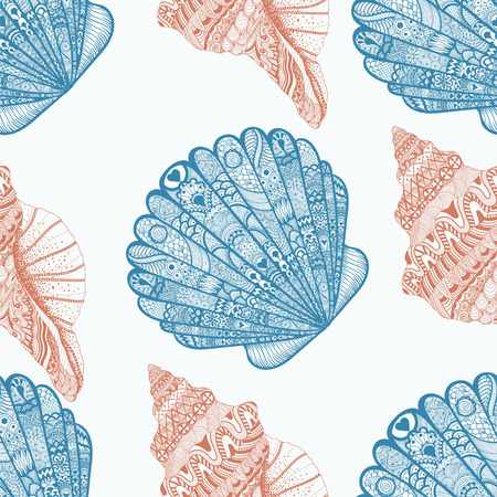 nautilus shell: Zentangle stylized ocean shells seamless pattern. Hand Drawn  doodle vector illustration. Sketch for tattoo or makhenda decoration. Seashell collection.