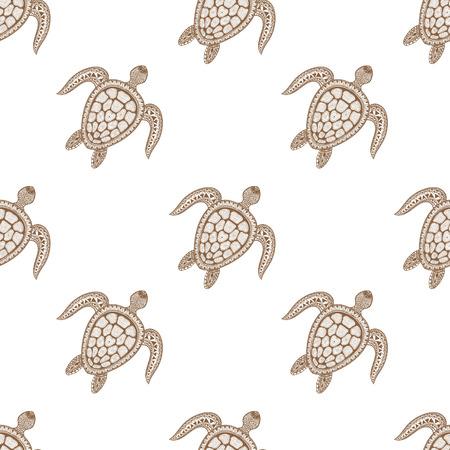 Modelo inconsútil de la tortuga estilizada tribal zentangle. Dibujados a mano de la ilustración del vector del Doodle acuático. Boceto para el tatuaje o makhenda. colección de mar animal. vida del océano.