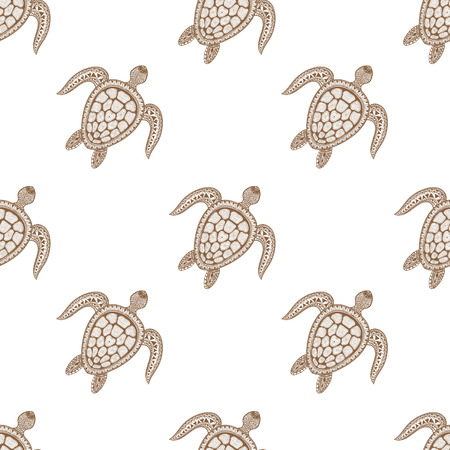 Zentangle tribal stylized turtle seamless pattern. Hand Drawn aquatic doodle vector illustration. Sketch for tattoo or makhenda. Animal sea collection. Ocean life.