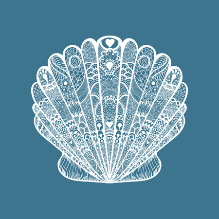 Zentangle stylized white sea shell. Hand Drawn  doodle vector illustration isolated on blue background. Sketch for tattoo or makhenda. Seashell collection. Ocean life.