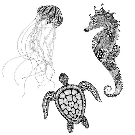Zentangle estilizado tortuga negro, caballo de mar y medusas. Dibujados a mano de la ilustración del vector del Doodle acuático. Boceto para el tatuaje o makhenda. Animal, creado colección de mar. vida del océano. Ilustración de vector