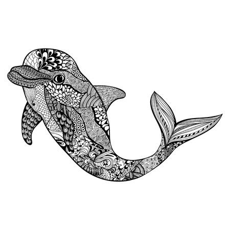 delfín estilizada zentangle. Dibujados a mano de la ilustración del vector del Doodle acuático. Boceto para el tatuaje o makhenda. colección de mar animal. vida del océano.