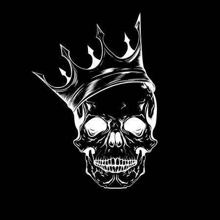 Hand gezeichneter Skizzenschädel mit Krone. Tattoo Strichzeichnungen. Weinlesevektorillustration lokalisiert auf schwarzem Hintergrund.