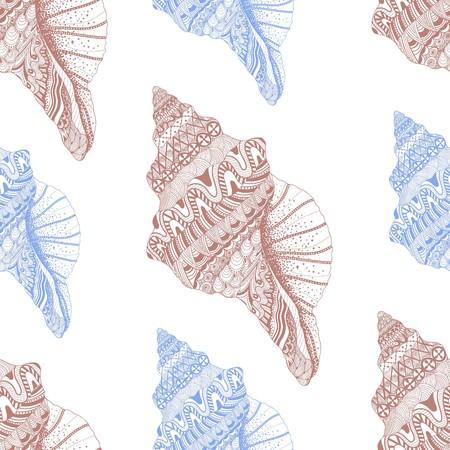seashell: Zentangle stylized sea cockleshell seamless pattern. Hand Drawn aquatic doodle vector illustration. Sketch for tattoo or makhenda. Seashell collection. Ocean life.