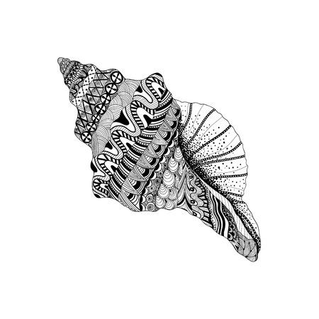 espiral: Zentangle estilizado cavidad de mar negro. Dibujados a mano de la ilustración del vector del Doodle acuático. Boceto para el tatuaje o makhenda. colección de conchas marinas. vida del océano.