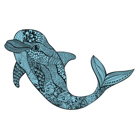 aquatic life: Zentangle stylized blue dolphin. Hand Drawn aquatic doodle vector illustration. Sketch for tattoo or makhenda. Animal sea collection. Ocean life.