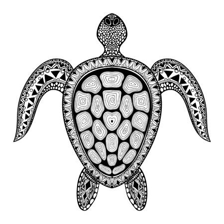 Zentangle 부족 양식 거북이. 손 수생 낙서 벡터 일러스트 레이 션 그린. 문신 또는 makhenda에 대한 스케치합니다. 동물 바다 모음입니다. 해양 생물.