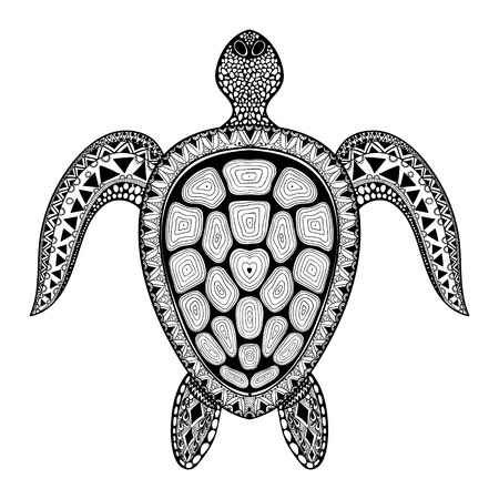 maori: Zentangle tribal stylized turtle. Hand Drawn aquatic doodle vector illustration. Sketch for tattoo or makhenda. Animal sea collection. Ocean life. Illustration