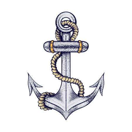 Hand drawn elegant ship sea anchor with rope, colored sketch for tattoos design or t-shirt print, dot work art. Vintage vector illustration isolated on white background. Nautical collection. Illustration