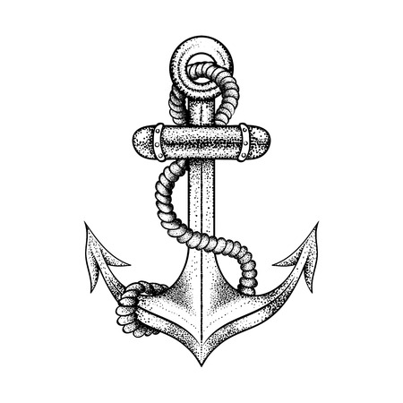 Hand drawn elegant ship sea anchor with rope, black sketch for tattoos design or t-shirt print, dot work art. Vintage vector illustration isolated on white background. Nautical collection.