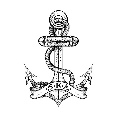 Hand drawn elegant ship sea anchor with rope and banner, black sketch for tattoos design or t-shirt print, dot work art. Vintage vector illustration isolated on white background. Nautical logo collection.