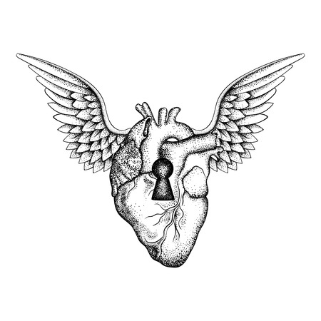 Hand drawn elegant anatomic human heart with wings and keyhole, black sketch for tattoos design or t-shirt print, dot work art. Vintage vector illustration isolated on white background.