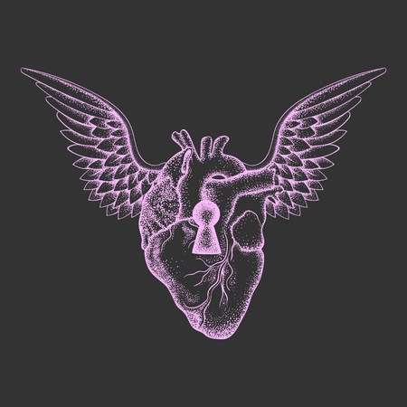 anatomic: Hand drawn elegant anatomic human heart with wings and keyhole, pink sketch for tattoos design or t-shirt print, dot work art. Vintage vector illustration isolated on grey background.